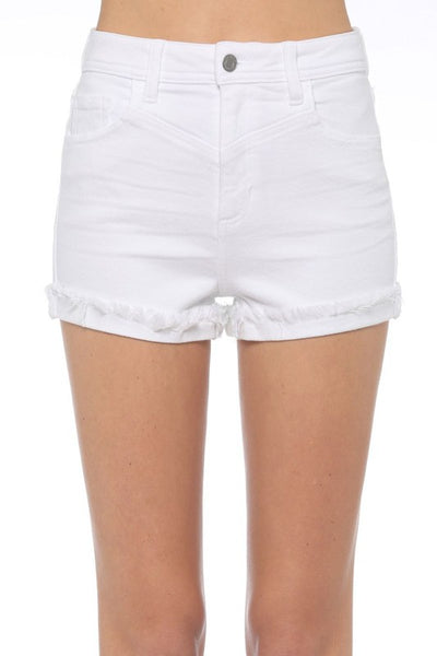 High Rise Mom Frayed Shorts
