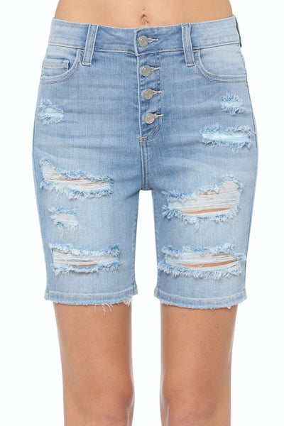 Exposed Button Distressed Bermuda Shorts