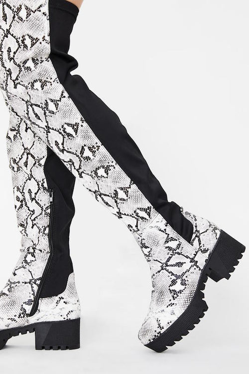 Snakeskin Chunky Sole Boot