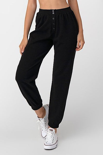 Front Snap Button Fleece Jogger Pants