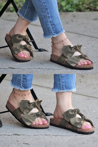 Camo Sandals with Bow