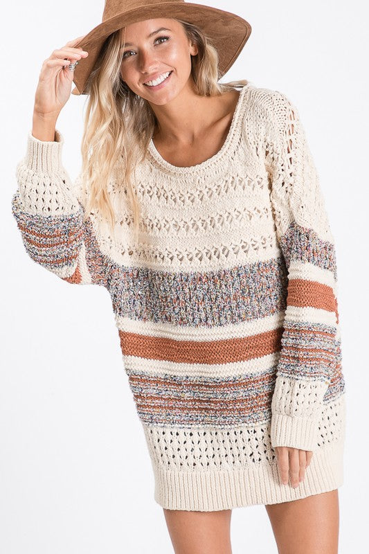 Multi Thread Sheer Cable Knit Sweater