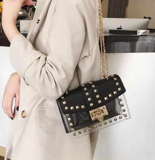 Clear Leather Studded Crossbody