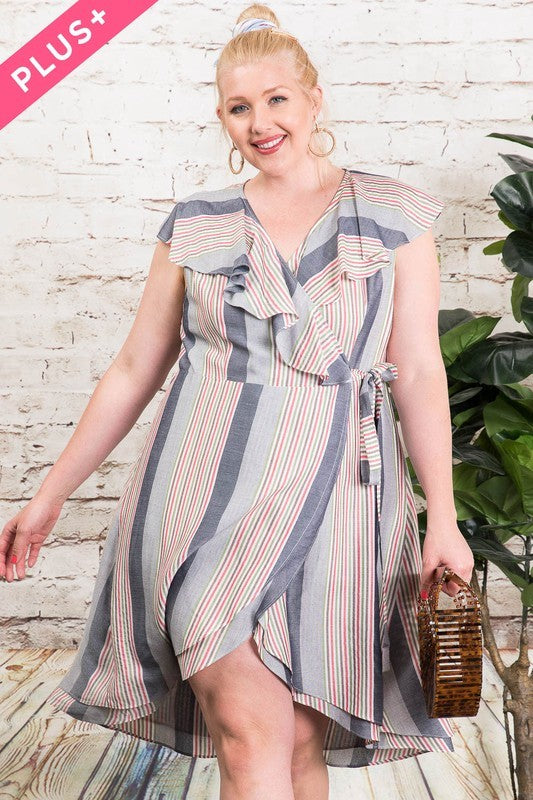 Multi Striped V-Neck Wrap Dress