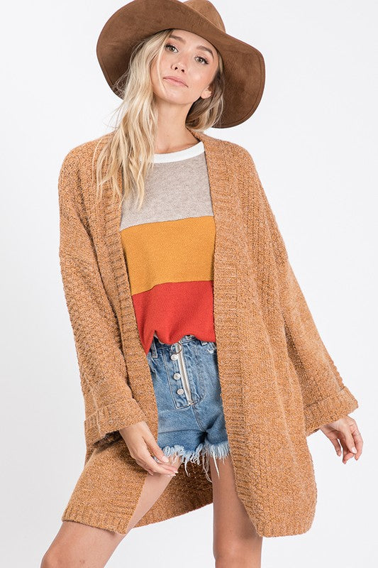 Solid Knit Sweater Cardigan