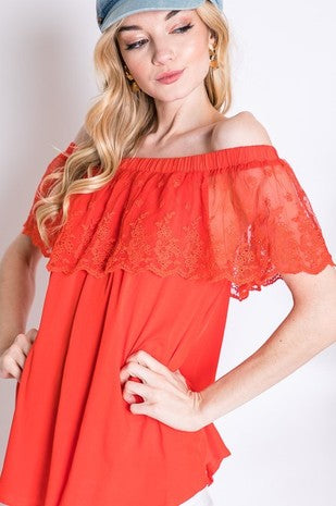 Boho Lace Overlay Off The Shoulder Top