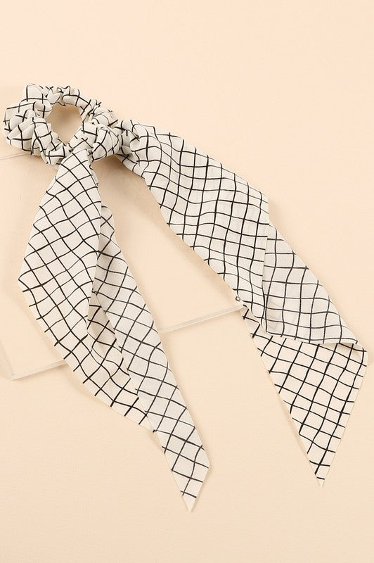 Grid Print Hair Scarf