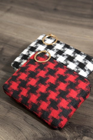 Houndstooth Coin Pouch Bag