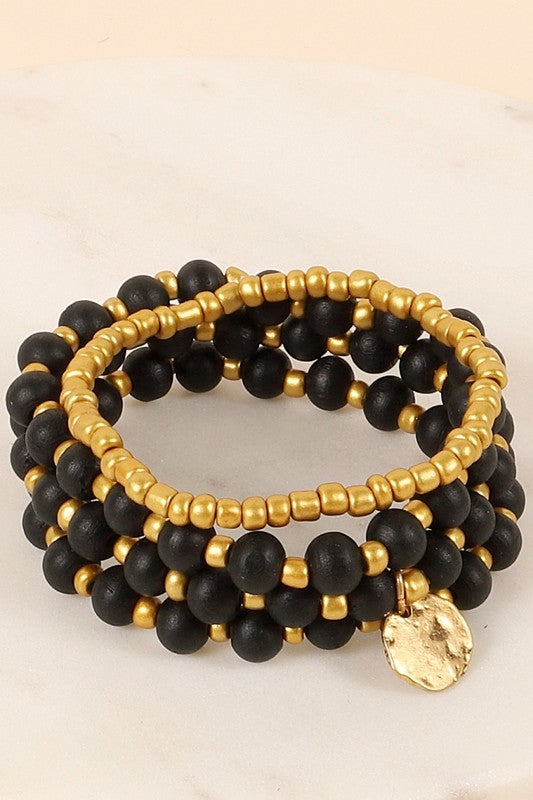 Wood Metal Stretch Bracelet Set