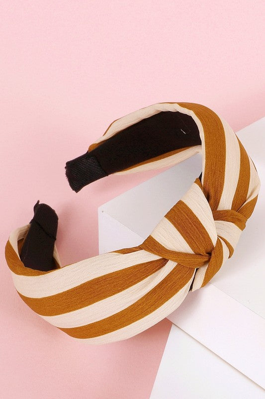 Striped Woven Knotted Headband