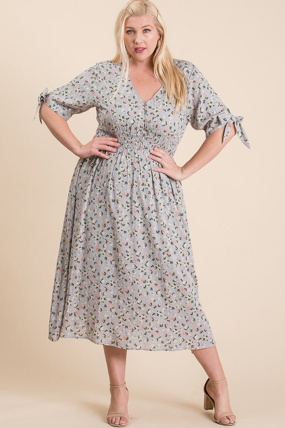 Curvy Girl Dainty Floral Midi Dress