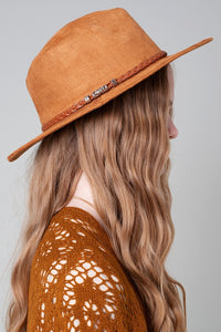 Faux Suede Leather Panama Hat