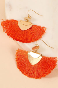 Wide Tassel and Metal Earrings
