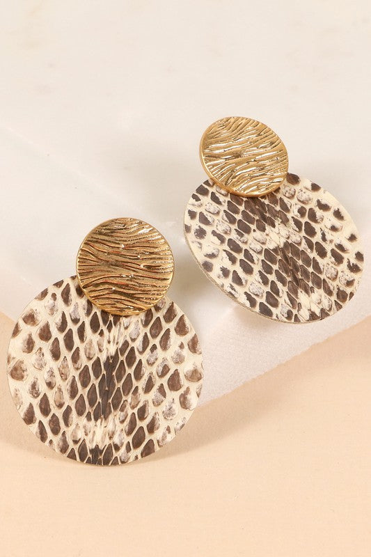 Animal Print Round Earrings