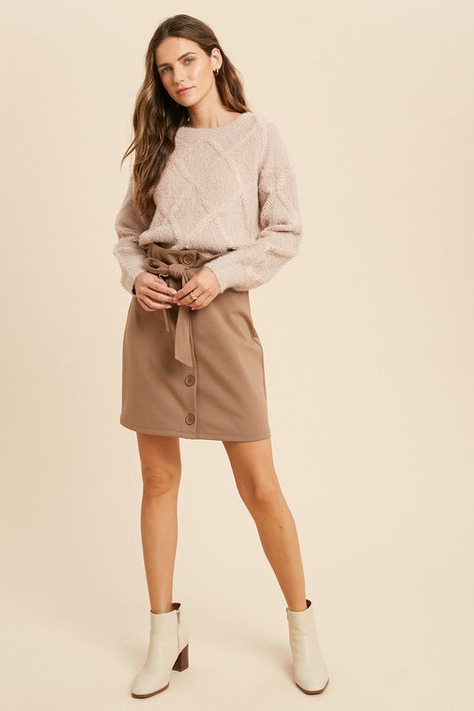 High Waist Button Down Skirt