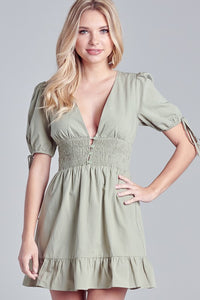 Smocked Waist Puff Sleeve Dress