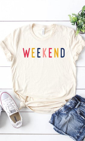 Colorful Weekend  Letters Graphic Tee