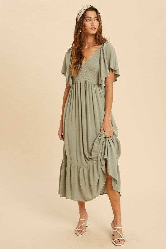 Midi Flutter Sleeve Dress