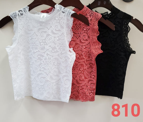 High-Neck Lace Tank