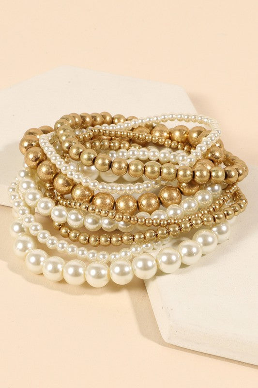 Pearl Beaded Bracelet Set
