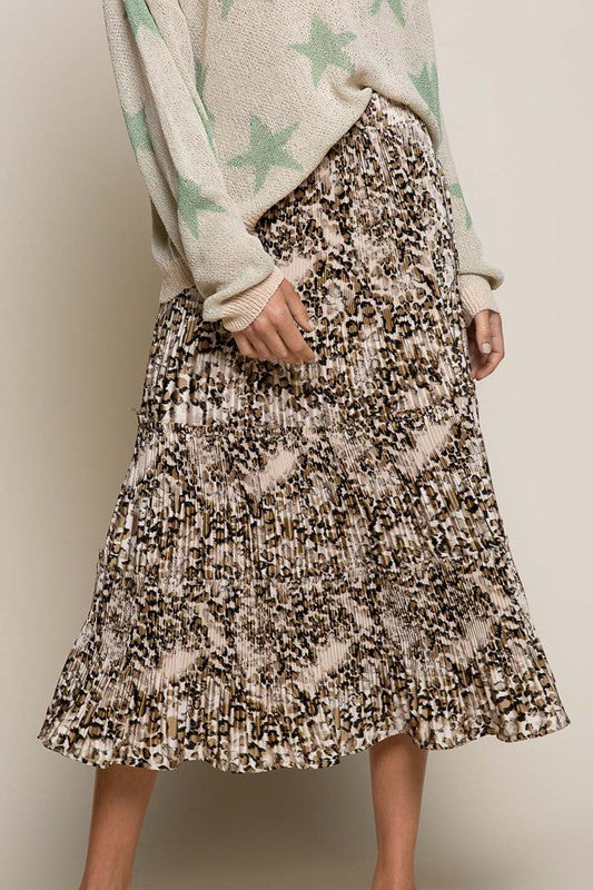 Washed Leopard Pleated Midi Skirt