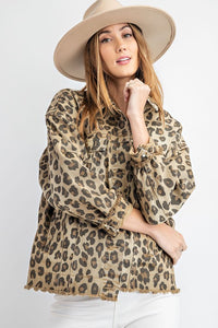 Frayed Hem Leopard Denim Jacket