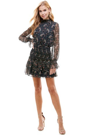 High Neck Smock Paisley Dress