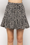 Animal Print Flared Mini Skirt