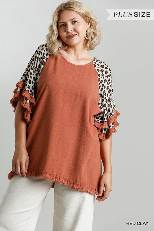 Curvy Girl Layered Ruffle Sleeve Tunic