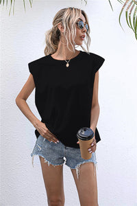Shoulder Pad Sleeveless T-Shirt