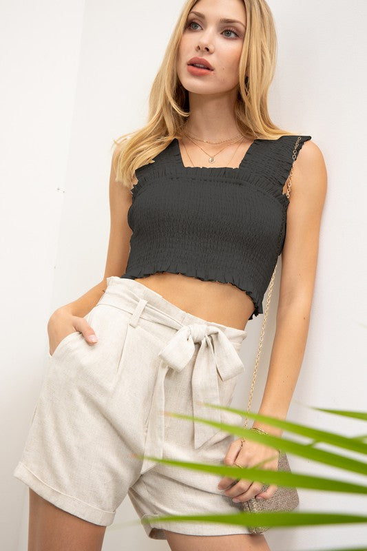 Sleeveless Smocking Crop Top