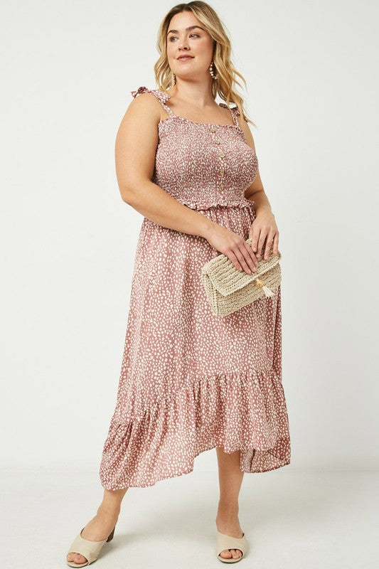 Curvy Girl Tie shoulder Smocked Midi Dress