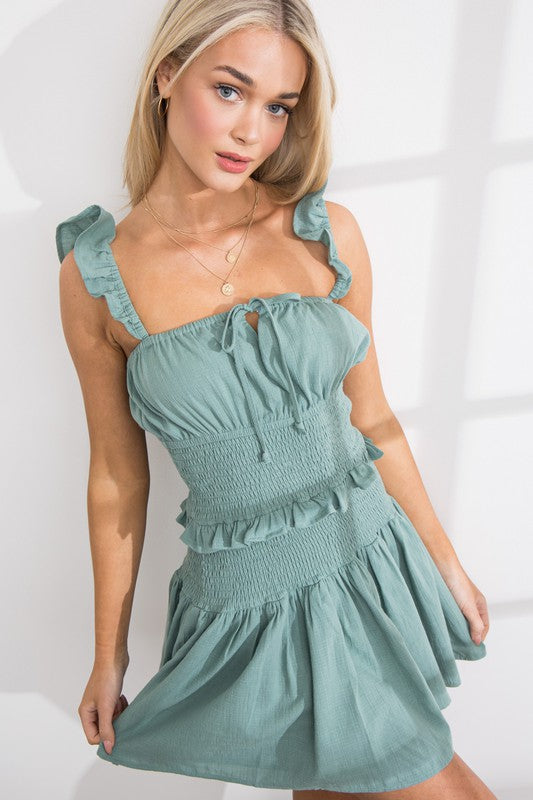 Selly Smocking Ruffle Hem Dress