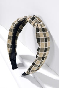 Neutral Check Knotted Headband