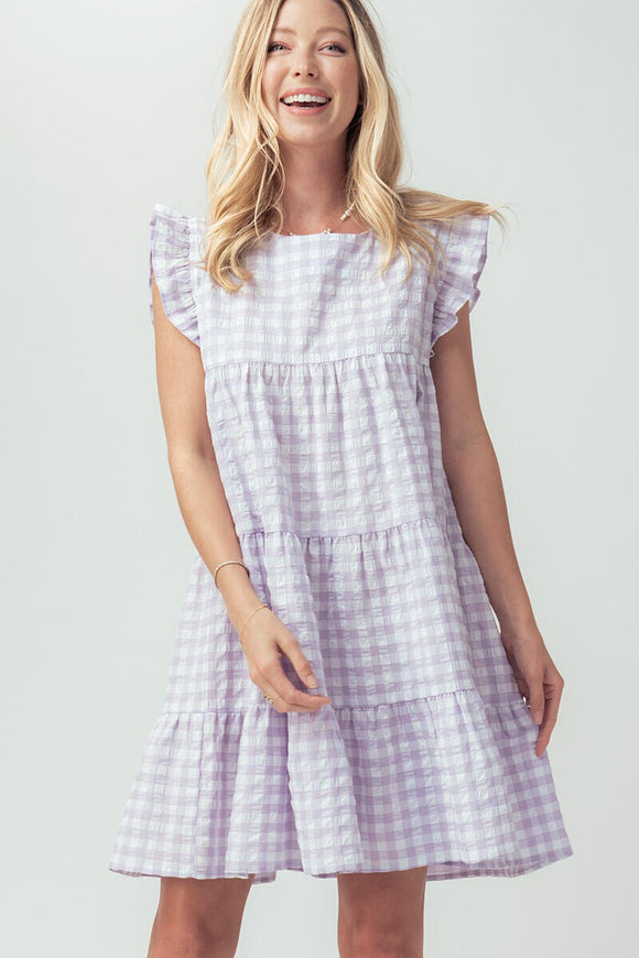 Gingham Ruffle Sleeve Babydoll Dress