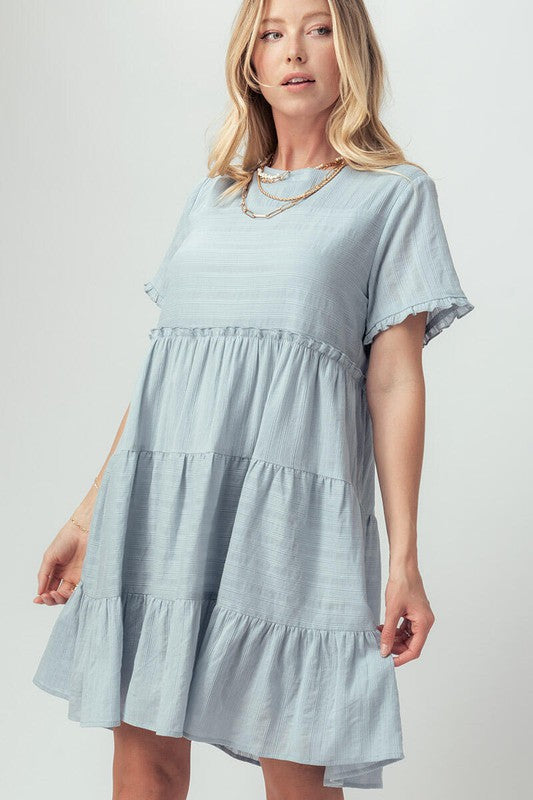 Textured Ruffle Babydoll Dress