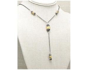 "16"" Brushed Yellow Gold Nugget Hematite Y Necklace"