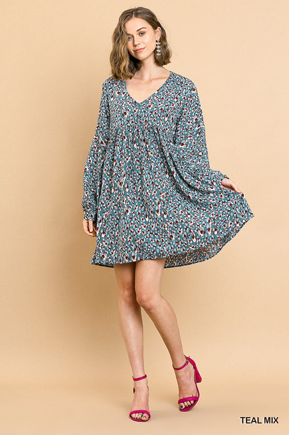 Long Puff Sleeve Babydoll Dress