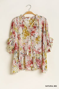 Flowy Floral Front Tie top