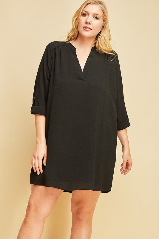 Curvy Girl V-Neck Shirt Dress
