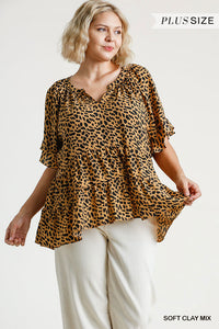 Curvy Girl Animal Print Tiered Top
