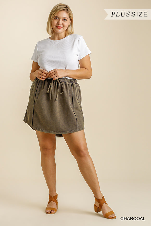 Curvy Girl Terry Knit Mini Skirt