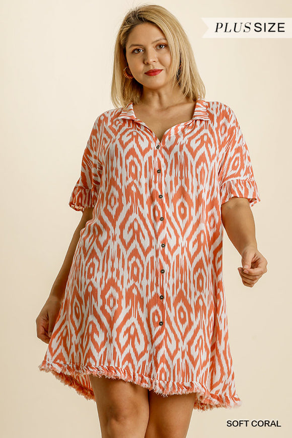 Curvy Girl Printed Shirt Dress