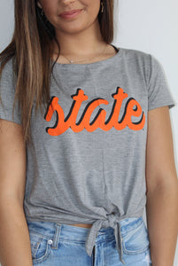 Oklahoma State Tie Front Top