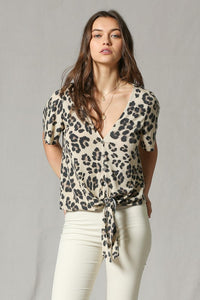 Leopard Print Button Down Tie Top