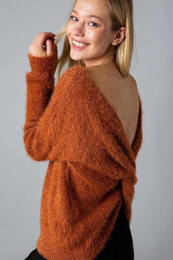 Mohair Twist Back Sweater