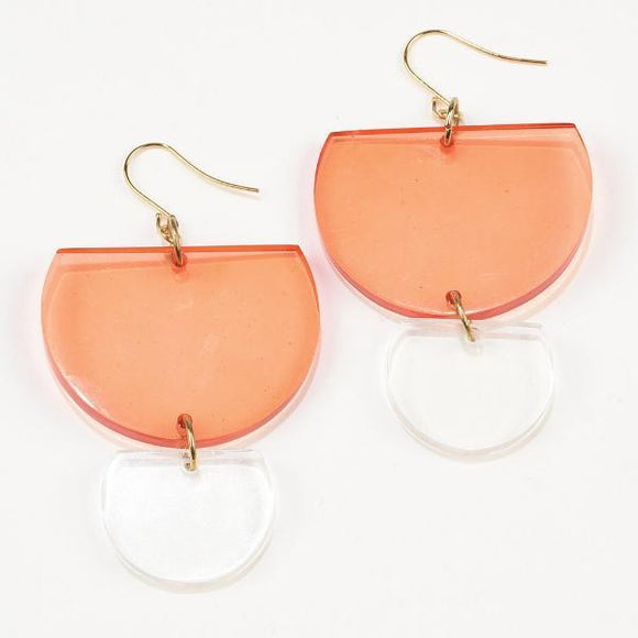 Lucite Double Half-Round Earrings