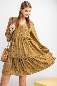 Irregular Dot Printed Ruffle Dress
