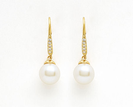 Gold Pave Wire Pearl Earrings