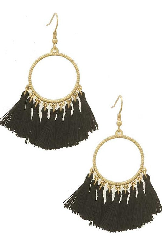 Open Round Metal Tassle Earring